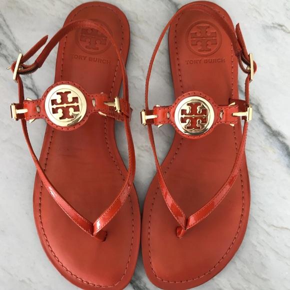 d056ca6b9b4f3 Tory Burch Equestrian orange sandals
